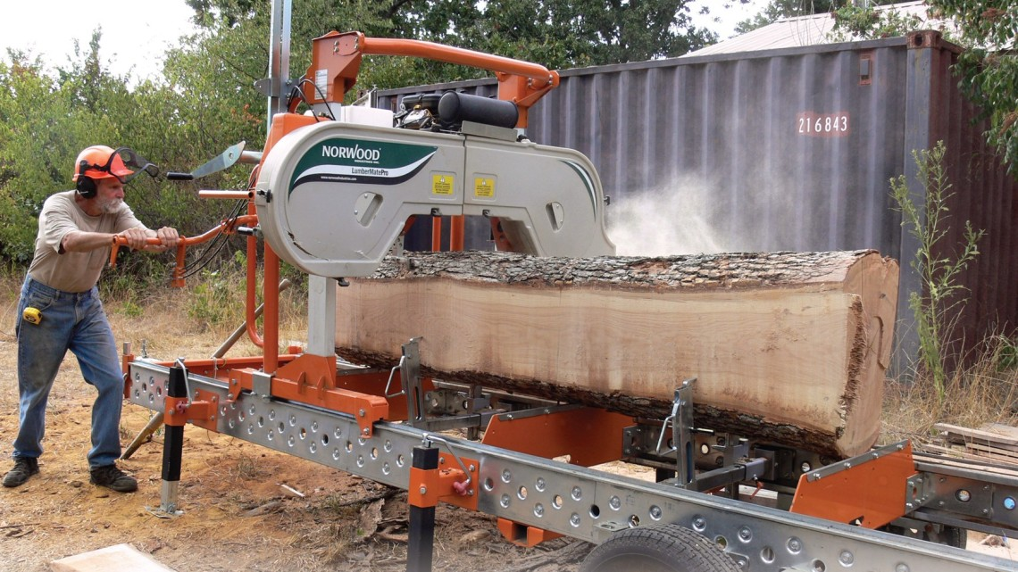 portable sawmill in action