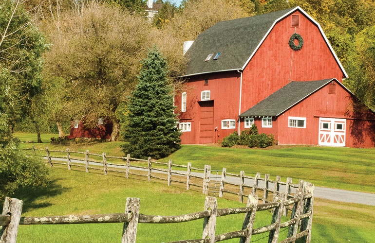 beautiful landscape and farmhouse in connecticut